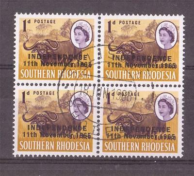 RHODESIA, QE11, 1966 INDEPENDENCE DEFINS, 1d BUFFALO  SG 260 FINE USED  BLOCK 4,