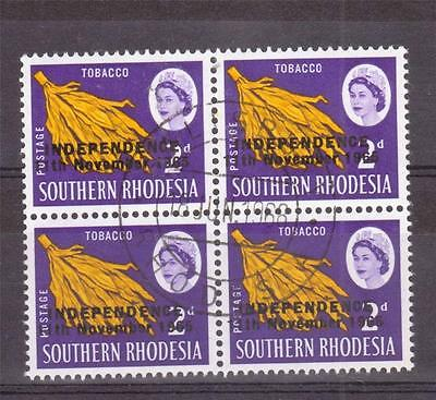RHODESIA, QE11, 1966 INDEPENDENCE DEFINS, 2d TABBACO SG 261  FINE USED BLOCKS 4,