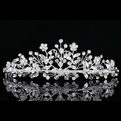 Bridal Floral Rhinestones Crystal Prom Wedding Crown Tiara 7878