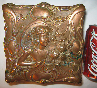 Antique Jennings Brothers Jb Art Nouveau Lady Bust Casket Jewelry Ring Box Bronz