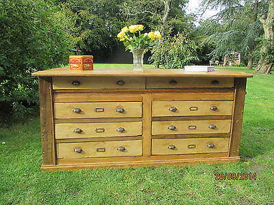 Old Pine French Haberdashery Shop Display Counter with 8 Drawers and panelling