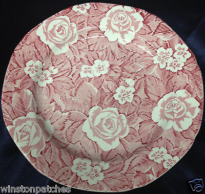 "BURLEIGH BURGESS LEIGH ENGLAND VICTORIAN CHINTZ DINNER PLATE 9 5/8"" RED & WHITE"
