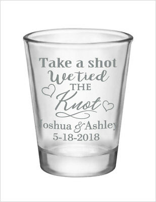 72 Wedding Favors Custom 1.5oz Glass Shot Glasses NEW 2015 Personalized Designs