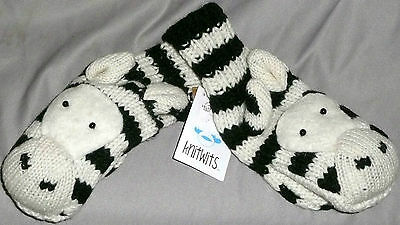 KNITWITS Deluxe Black/White Adult Knit Zebra Wool Puppet Mittens/Gloves A2649