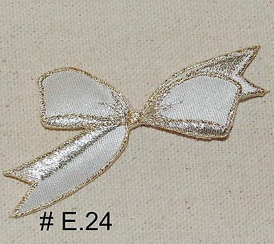 "1pc WHITE SATIN CHRISTMAS BOW ~ IRON ON SEW ON EMBROIDERED APPLIQUE 3"" W."