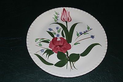 """Blue Ridge Southern Pottery Red and Blue Floral 10"""" Plate"""