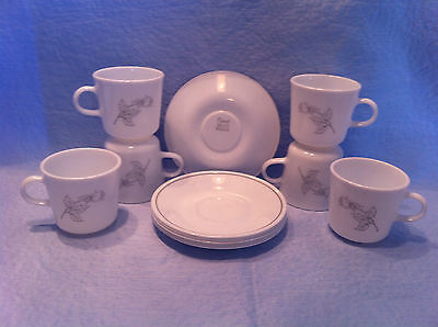 CORNING CORELLE SAUCERS AND COFFEEE CUPS --- GRAY RIM --- SIX (6) EACH