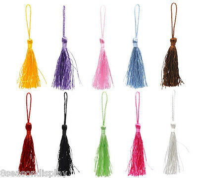 "100 Pieces Mixed Color Silky Tassels 13.5cm(5-3/8"")"