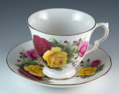 Vintage Bone China Queen Anne Rose Floral Tea Cup & Saucer England #8519