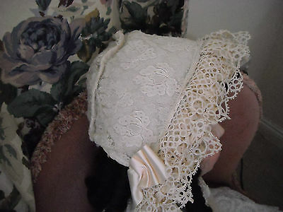 """Doll's cream cotton/lace bonnet fit approx 32/36"""" or 82/92cms doll."""