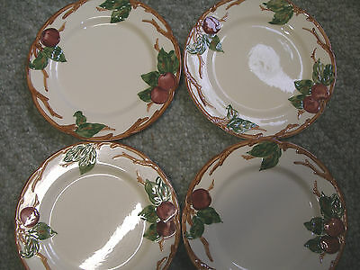 Lot of 4 Vintage Franciscan Apple dinner plates 1940s round mark hand decorated