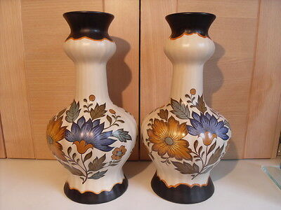 PAIR OF FLORAL GOUDA PLATEEL HOLLAND LARGE VASES PATTERN 451