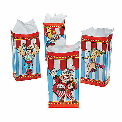 12 Big Top CIRCUS CARNIVAL BAGS Clown Dozen Tent Birthday Party Favors Treat Fun