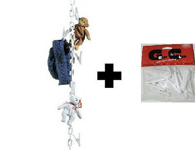 White Chain Gang Stuffed Animal Chain Toy Organizer + 10 Extra Clips