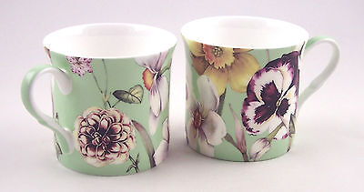 PAIR FINE BONE CHINA MUGS - HEATH MCCABE PANSY COLLECTION GREEN  MADE IN ENGLAND