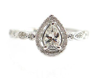 0.68 CT Natural Diamond Pear shape Round Cut Halo Engagement Ring 14K White Gold