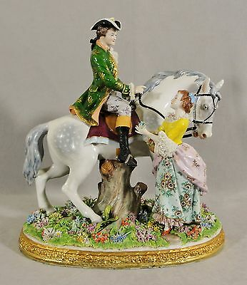 FABULOUS MONUMENTAL SITZENDORF DRESDEN PORCELAIN COURTING COUPLE WITH HORSE