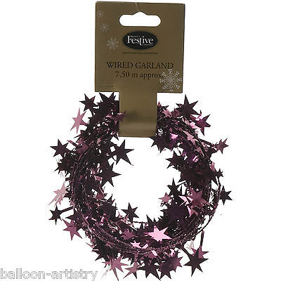 7.5m Christmas Party BURGUNDY Sparkle Stars Foil Wire Garland Decoration