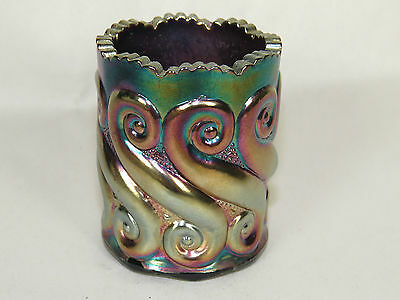 LG Wright Cobalt Blue Carnival Glass S Repeat Toothpick Holder,Iridescent