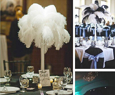 Wholesale, 10-100 pcs high quality natural white black ostrich feathers 15-50cm