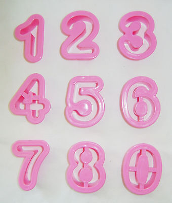 New Set Of 9 Number Biscuit Cookie Pastry Cutters Age Birthday Pink Pms