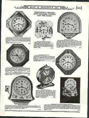 1931 ADVERTISEMENT Old Dutch Deft Pattern Wall Kitchen Clock Art Deco Alarm