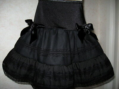 NEW Girls ALL Black Linen  lace Frilly Party Gift Skirt Dance Goth Rock Punk