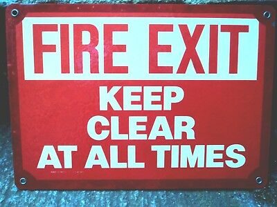 "Original Factory Sign (SALVAGED from HERSHEY) Reads ""FIRE EXIT KEEP CLEAR"""