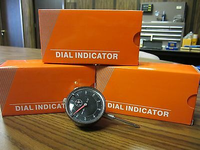 "3pcs 0-1"" travel, 0.001"" graduation Dial Indicator black face #301B-451- NEW"