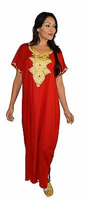 Moroccan Women Caftan Kaftan Long Dress Casual  Abaya Cotton Fits Sm to LG Red