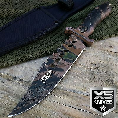 "10.5"" CAMO Tactical COMBAT BOWIE HUNTING Fixed Blade Knife Survival MILITARY"