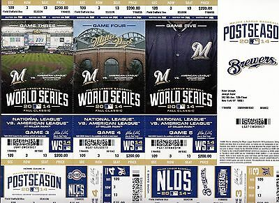 2014 Milwaukee Brewers World Series Playoffs Ticket Strip Stub Nlds Nlcs Phantom