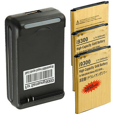 3 x New 2850mAh battery + Charger For Samsung Galaxy S3 III i535 T999 L710 i9300