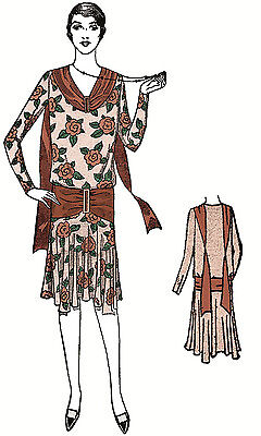 #Z2778 - 1920s Ladies Slip-On Dress with Scarf Collar Sewing Pattern - Flapper