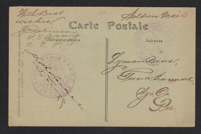 Usa 1919 Rennes Cathedral France Censored Aef Soldiers' Postcard To Pennsylvania