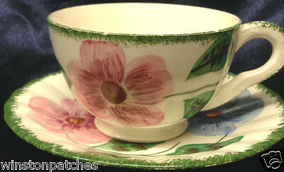 BLUE RIDGE SOUTHERN POTTERIES NORMA PAIR OF FOOTED CUPS WITH SAUCERS GREEN TRIM