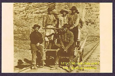 LMH Photo POSTCARD Lightfoot #27  RAILROAD CONSTRUCTION WORKERS  Handcar CPRR UP