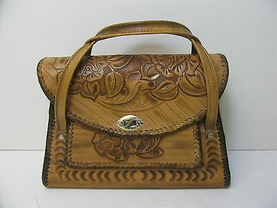 Vintage Women's Hand Tooled Artisan Floral Crafted Leather Satchel Bag