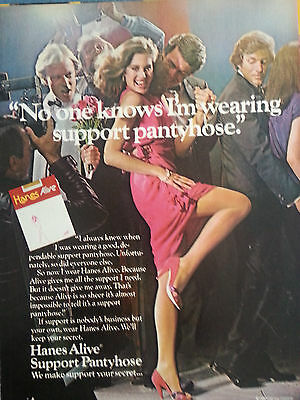 1980  Hanes Hosiery Alive Stockings Noone Knows Im Wearing Support Hose Print Ad
