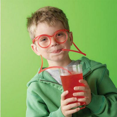 Funny Unique Colorful Soft Glasses Flexible Straw Drinking Tube Kids Party Gift