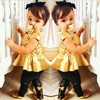 New Baby Girls Kids Shirt Dress + Legging Pants Casual Clothes Sets Outfits 2Pcs