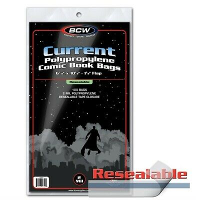 Lot of 200 BCW RESEALABLE Current Comic Book Archival Poly Bags - 6 7/8x10.5