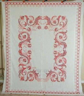 Large GORGEOUS 30's Vintage Red & White Cross Stitched Antique Quilt Top!