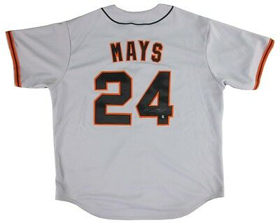Willie Mays Autographed San Francisco Giants Away Jersey - Say Hey Hologram