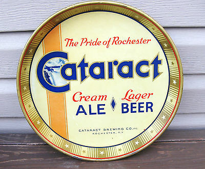 """(B) VINTAGE CATARACT ALE & BEER 12"""" INCH METAL - TIN LITHO TRAY ROCHESTER NY"""