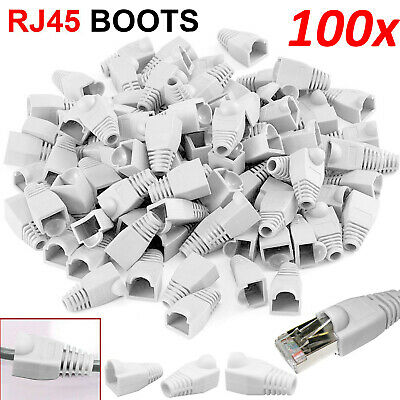 100x RJ45 Ethernet Network Cat5e Cat6 7 Cable End Connector Snagless Cover Boots