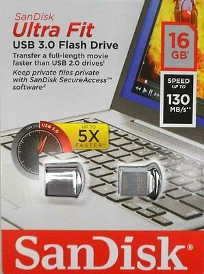 2 Pcs Sandisk Ultra Fit 16GB 16G USB 3.0 130MB/Sec Flash Drive Mini Nano Retail