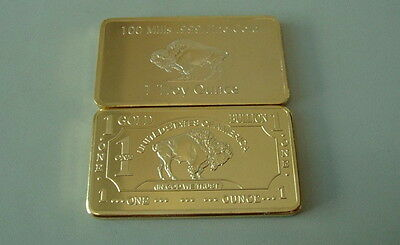 Gold Goldbarren 1 oz USA American Buffalo 999 vergoldet NEU Selten ! TOP !