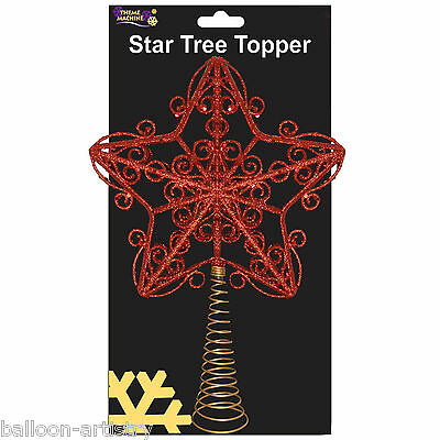 30cm Elegant Red Glitter Sparkle Swirl Star Christmas Tree Top Topper Decoration