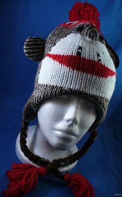 WHOLESALE LOT OF 6 KNIT SOCK MONKEY PLUSH WINTER  HATS animal kids womans mens